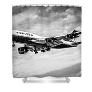 United Airlines Airplane In Black And White Shower Curtain by Paul Velgos