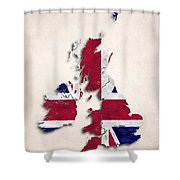 United Kingdom Map Art With Flag Design Shower Curtain
