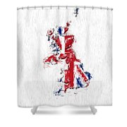 United Kingdom Painted Flag Map Shower Curtain