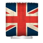 United Kingdom Union Jack England Britain Flag Vintage Distressed Finish Shower Curtain by Design Turnpike
