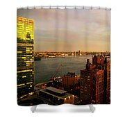 United Nations Building At Nightfall With Chrysler Building Reflection - Landmark Buildings  Shower Curtain