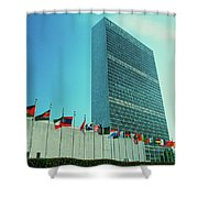United Nations Building With Flags Shower Curtain