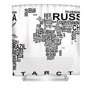 United States And The Rest Of The World In Text Map Shower Curtain by Daniel Hagerman