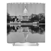 United States Capitol Building Bw Shower Curtain by Susan Candelario