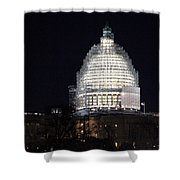 United States Capitol Dome Scaffolding At Night Shower Curtain