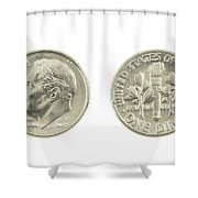 United States Dime On White Background Shower Curtain