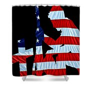 A Time To Remember United States Flag With Kneeling Soldier Silhouette Shower Curtain