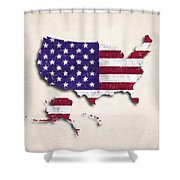 United States Map Art With Flag Design Shower Curtain