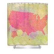 United States Map - Red And Watercolor Shower Curtain