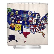 United States Map With Fifty States Shower Curtain