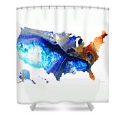 United States Of America Map 7 - Colorful Usa Shower Curtain