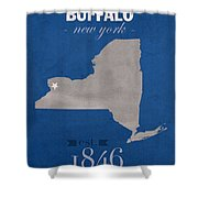 University At Buffalo New York Bulls College Town State Map Poster Series No 022 Shower Curtain