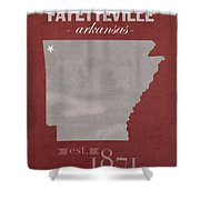 University Of Arkansas Razorbacks Fayetteville College Town State Map Poster Series No 013 Shower Curtain