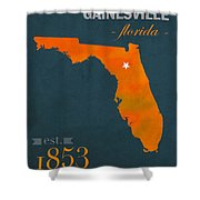 University Of Florida Gators Gainesville College Town State Map Poster Series No 003 Shower Curtain