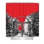 University Of Georgia - Georgia Arch - Red Shower Curtain