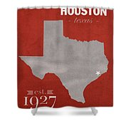 University Of Houston Cougars Texas College Town State Map Poster Series No 045 Shower Curtain