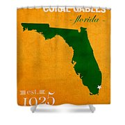 University Of Miami Hurricanes Coral Gables College Town Florida State Map Poster Series No 002 Shower Curtain