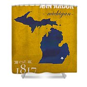 University Of Michigan Wolverines Ann Arbor College Town State Map Poster Series No 001 Shower Curtain