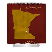 University Of Minnesota Golden Gophers Minneapolis College Town State Map Poster Series No 066 Shower Curtain