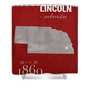 University Of Nebraska Lincoln Cornhuskers College Town State Map Poster Series No 071 Shower Curtain