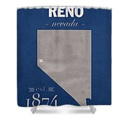 University Of Nevada Reno Wolfpack College Town State Map Poster Series No 072 Shower Curtain