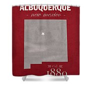 University Of New Mexico Albuquerque Lobos College Town State Map Poster Series No 074 Shower Curtain
