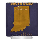 University Of Notre Dame Fighting Irish South Bend College Town State Map Poster Series No 081 Shower Curtain