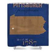 University Of Pittsburgh Pennsylvania Panthers College Town State Map Poster Series No 089 Shower Curtain