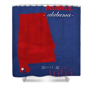 University Of South Alabama Jaguars Mobile College Town State Map Poster Series No 095 Shower Curtain