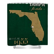 University Of South Florida Bulls Tampa Florida College Town State Map Poster Series No 101 Shower Curtain