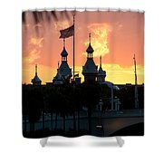 University Of Tampa Minerets At Sunset Shower Curtain