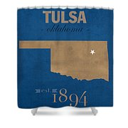 University Of Tulsa Oklahoma Golden Hurricane College Town State Map Poster Series No 115 Shower Curtain