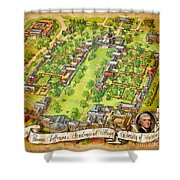 University Of Virginia Academical Village  With Scroll Shower Curtain