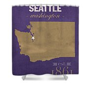 University Of Washington Huskies Seattle College Town State Map Poster Series No 122 Shower Curtain