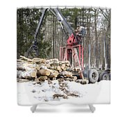 Unloading Firewood 5 Shower Curtain