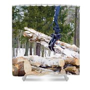 Unloading Firewood 8 Shower Curtain