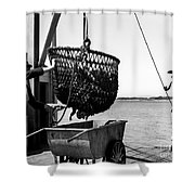Unloading Fish From Monterey's Wharf Two Circa 1950  Shower Curtain