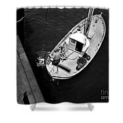 Unloading Fish At Wharf Two Monterey  Circa 1950  Shower Curtain