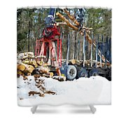 Unloading Of Logs On Transport Shower Curtain