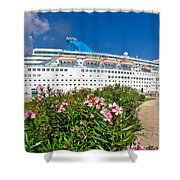 Unnamed Cruiser Docked On Waterfront Shower Curtain