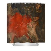 Untitled Abstract - Umber With Scarlet Shower Curtain