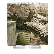Up The Cherry Steps Shower Curtain