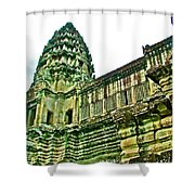 Upper Level Tower In Angkor Wat In Angkor Wat Archeological Park Near Siem Reap-cambodia Shower Curtain