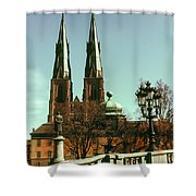 Uppsala Cathedral Steeples Shower Curtain