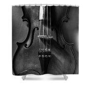 Upright Violin Bw Shower Curtain