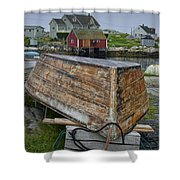 Upside Down Boat In Peggy's Cove Harbour Shower Curtain
