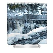 Upstream At Bond Falls Shower Curtain