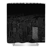 Uptown Nyc White On Black Shower Curtain