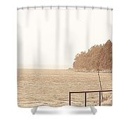 Urban Abstract Coast Line Shower Curtain
