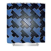 Urban Blue City Boxes Cube Leather Shower Curtain